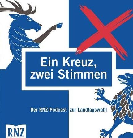 Die Grafik zeigt ein Logo zum Podcast der Rhein-Neckar-Zeitung zur Landtagswahl.