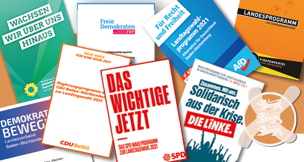 Das Bild zeigt eine Collage aus Wahlprogrammen zur Landtagswahl 2021